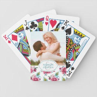 Watercolor-Pfau u. rotes Blumen - Hochzeits-Foto Poker Karten