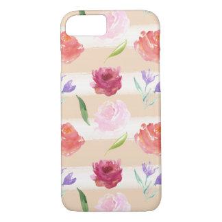 Watercolor-Pfirsich-Creme-Streifen mit Blumen iPhone 8/7 Hülle