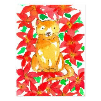 Watercolor-Poinsettia-Blumen-Weihnachtskatze Postkarte