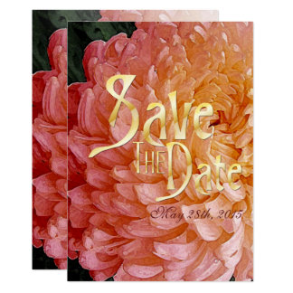 Watercolor-rosa Chrysantheme Mittwoch Save the 12,7 X 17,8 Cm Einladungskarte