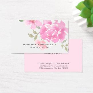 Watercolor-rosa Pfingstrosen-Blumen Visitenkarten