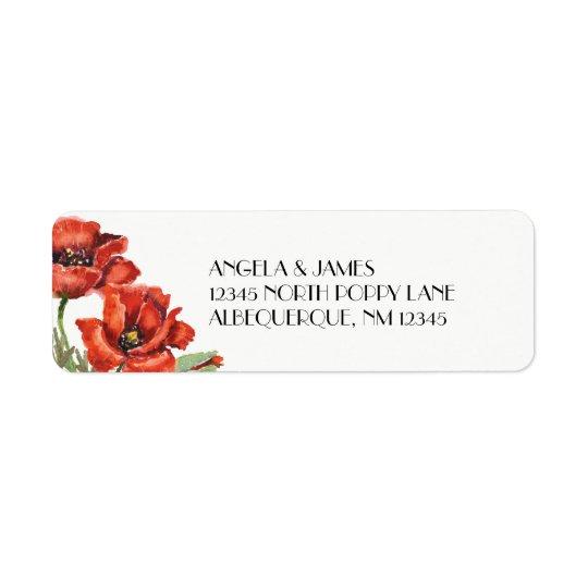 Watercolor-rote Mohnblumen-Blumen Rücksendeetikett