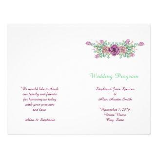 Watercolor-saftige Hochzeits-Programm-mit Flyer