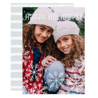 Watercolor-Schneeflocke-WeihnachtsFoto-Karte 12,7 X 17,8 Cm Einladungskarte