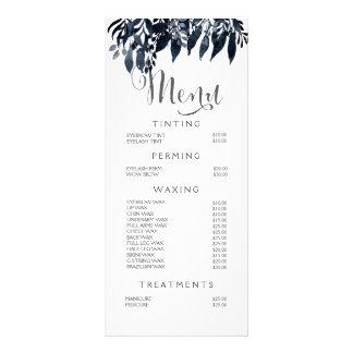 Watercolor-Schwarz-weiße Stylist-Menü-Preisliste Bedruckte Werbekarten