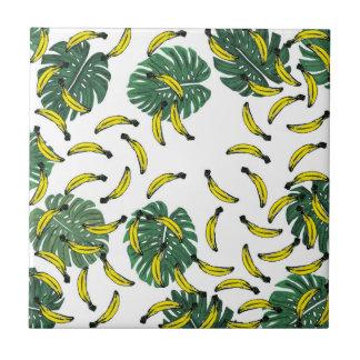 Watercolor-Schweizer Käse-Pflanze und Bananen Kleine Quadratische Fliese