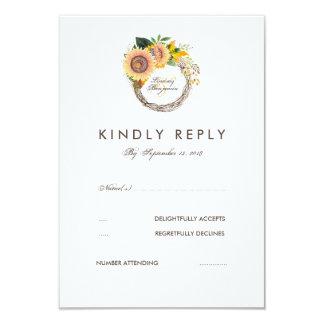Watercolor-Sonnenblume-elegante Hochzeit UAWG 8,9 X 12,7 Cm Einladungskarte