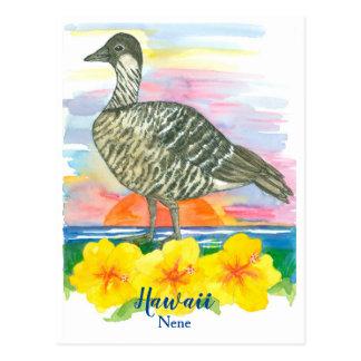 Watercolor-Sonnenuntergang-Hawaii-Staats-Vogel Postkarte
