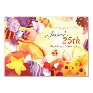 Watercolor-Süßigkeits-25. Geburtstags-Party 12,7 X 17,8 Cm Einladungskarte