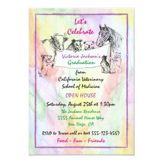 Watercolor-tierärztlicher SchulAbschluss 12,7 X 17,8 Cm Einladungskarte
