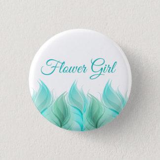 Watercolor versieht Blumen-Mädchen mit Federn Runder Button 3,2 Cm