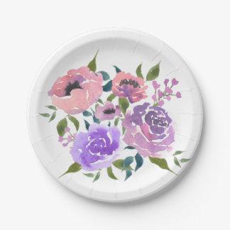 Watercolorhelles Chic-Blumen-Bündel Pappteller