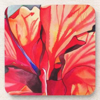 Watercolorkunst Blume des roten Hibiskus tropische Getränkeuntersetzer