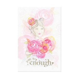 Watercolormädchen mit Blumen _sind Sie genug Gespannter Galeriedruck