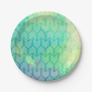 Watercolorstammes- Chic-abstrakte Pappteller