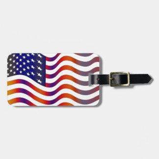 WAVY AMERICAN SYMBOL FLAG, AMERICAN FLAG TAG, KOFFERANHÄNGER