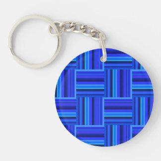 Webartmuster der blauen Streifen Schlüsselanhänger