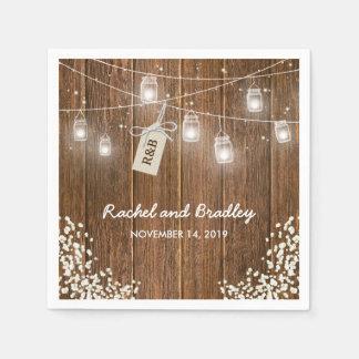Weckglas beleuchtet rustikale Babys Atem-Hochzeit Serviette