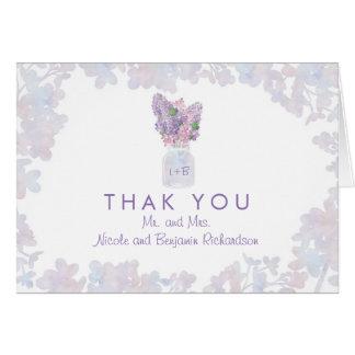 Weckglas mit Flieder-BlumenAquarellen danken Ihnen Mitteilungskarte
