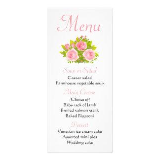 Wedding Blumenmenü-Rosa-Rosen-Blumen Werbekarte