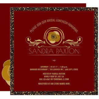 Wedding Brautparty des Brautmittagessen-rotes Quadratische 13,3 Cm Einladungskarte