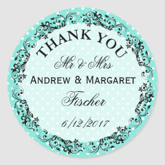 Wedding danken Ihnen, die personalisierten Runder Aufkleber