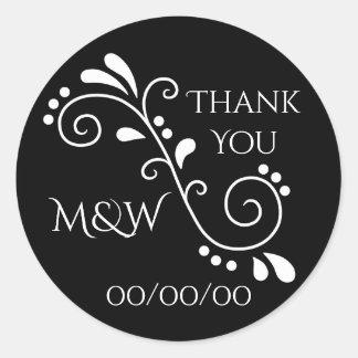 Wedding danken Ihnen Schwarzweiss Runder Aufkleber