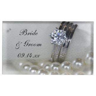 Wedding Diamant-Ringe und weiße Perlen Tischnummernhalter