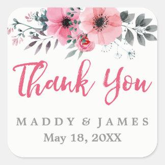 Wedding die BlumenAquarell-Mohnblumen danken Ihnen Quadratischer Aufkleber