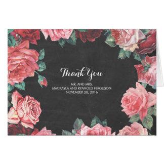 wedding die Blumentafelrosa-Rosen danken Ihnen Mitteilungskarte