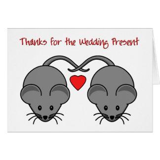 Wedding Mäuseschwarzes dankt Hochzeit Mitteilungskarte