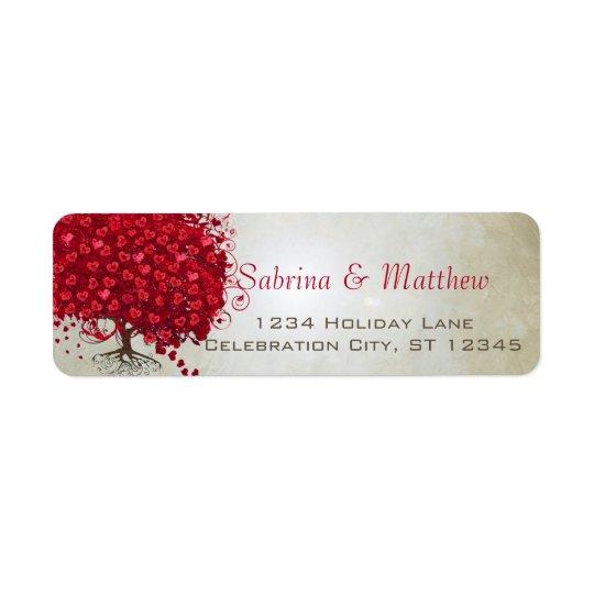 Wedding rote Herz-Blatt-Baum-Rücksendeadresse