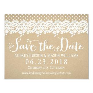 Wedding Save the Date Spitze und Kraftpapier der 10,8 X 14 Cm Einladungskarte