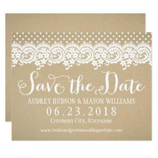 Wedding Save the Date Spitze und Kraftpapier der Karte