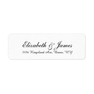 Wedding stilvolle Handschrifts-Schwarz-weißes Rückversand-Adressaufkleber