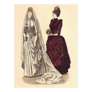 Wedding Vintage Brautpartybräute und -brautjungfer Postkarte