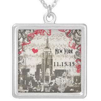 Wedding Vintage New- York Cityjahrestags-Halskette Halskette Mit Quadratischem Anhänger