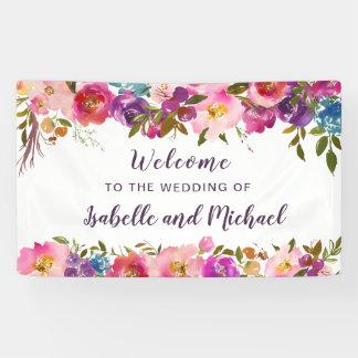 Wedding willkommener lila und rosa Watercolor mit Banner