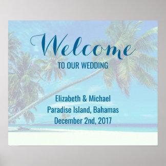 Wedding willkommener Sandy-Strand mit tropischen Poster