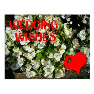 Wedding Wünsche, Herz und Blumen Postkarte