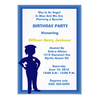 Weibliche Polizei-Offizier-Geburtstags-Party 12,7 X 17,8 Cm Einladungskarte