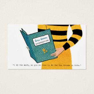 Weibliche Retro Buchhalter-Frauen-Finanzberater Visitenkarte