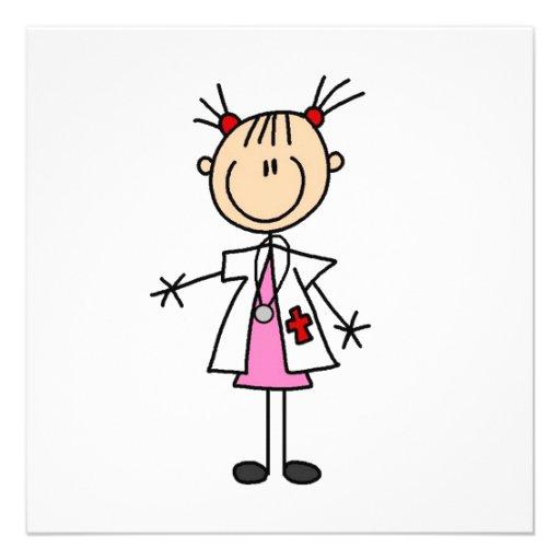 Weiblicher Doktor Strichmännchen Individuelle Ankündigskarten