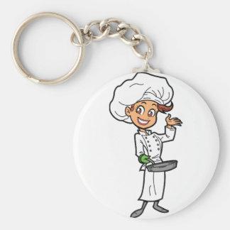 Weiblicher Koch mit einer Bratpfanne Keychain Schlüsselanhänger