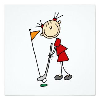 Weiblicher Strichmännchen-Golfspieler Individuelle Ankündigung