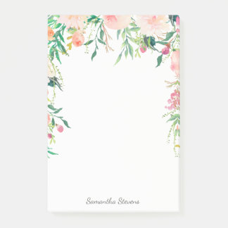 Feminine Pink Watercolor Floral with Your Name