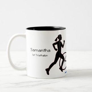 Weibliches Triathlon-Andenken Zweifarbige Tasse