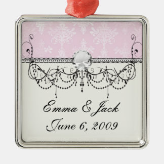 weich Rosa beunruhigtes Damastmuster Silbernes Ornament