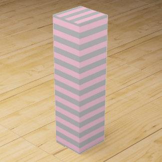 Weich rosa und silberne Streifen Wein-Geschenkverpackung