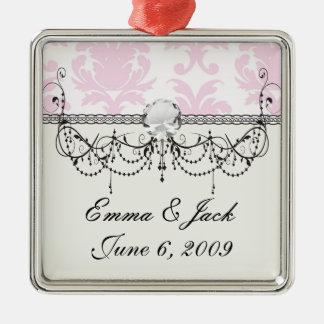 weich rosa und weißer fleur Damast Silbernes Ornament